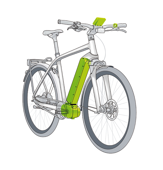 Die Positionen der Antriebselemente (Pedelec-Motor, e-Bike-Display, e-Bike-Akku und Bedienungsteil) des Impulse Evo RS am Beispiel eines City, Trekking e-Bikes mit Diamantrahmen.