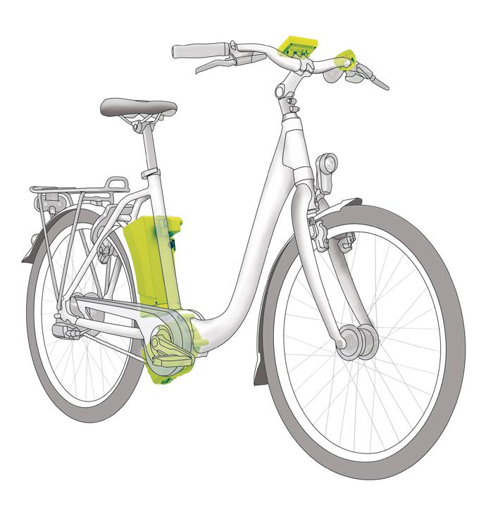 Die Positionen der Antriebselemente (Pedelec-Motor, e-Bike-Display, e-Bike-Akku und Bedienungsteil) des Impulse 2.0 am Beispiel eines City e-Bikes mit Tiefeinsteiger-Rahmen.
