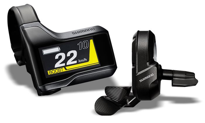Das 2016 neu konzipierte e-Bike-Display für den e-Mountainbike-Antrieb E8000 überzeugt durch eine farbliche Anzeige der Unterstützungsstufen und ein übersichtliches reduziertes Display.