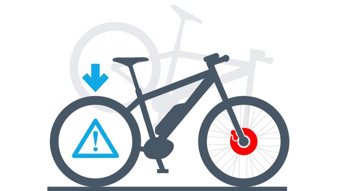 Eine häufige Unfallursache ist das Überschlagen mit dem e-Bike nach einer starken Bremsung, durch die Hinterrad-Funktion des Bosch Pedelec ABS wird dies verhindert.