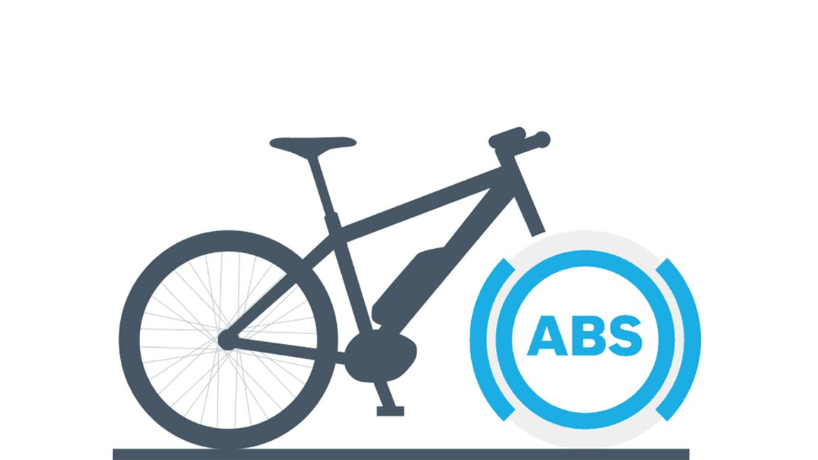 Geschwindigkeitssensoren erkennen, wenn das Vorderrad blockiert und das ABS greift in den Bremsvorgang des e-Bike Fahrers ein.