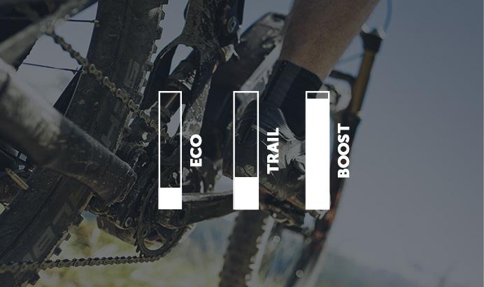 In der Betriebsart Dynamic ist die Leistung des Shimano MTB-Motors in der Werkseinstellung, ideal für steile Berge und technisch anspruchsvolle Trails.
